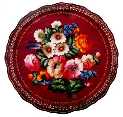 Plateau en métal, peint à la main. Origine de Jostovo