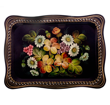 Russian metal hand painted and lacquered tray. Origin of Jostovo