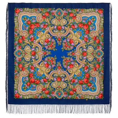 Châle en laine, avec des franges en soie Nom du motif: Sérénade Créateur du motif: Klara Zinovieva