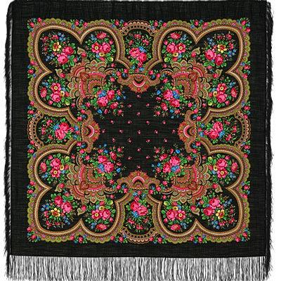 Châle russe en laine, avec des franges en soie Nom du motif: Conversation Chaleureuse Créateur du motif: Klara Zinovieva