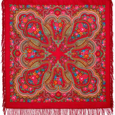 Châle russe en laine, avec des franges en laine Nom du motif: Lubava (prénom d'amour) Créateur du motif: Natalia Belokour