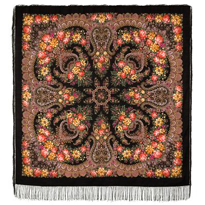 Châle russe en laine, avec des franges en soie Nom du motif: Lac Dagoda Créateur du motif: Natalia Belokour