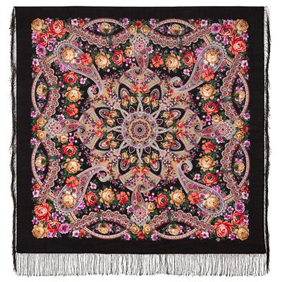 Châle russe en laine, avec des franges en soie Nom du motif: Belle Fille Créateur du motif: Ioulia Outkina