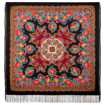 Châle russe en laine, avec des franges en soie Nom du motif: Nid de Gentilhomme (de Ivan Tourguiniev) Créateur du motif: Elena Joukova