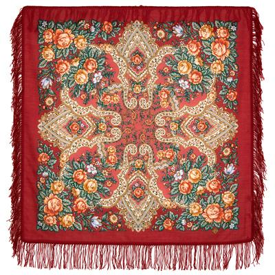 Châle russe en laine, avec des franges en laine Nom du motif: Tendres sentiments Créateur du motif: Evgenia Mourabeva