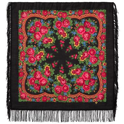 Châle russe en laine, avec des franges en laine Nom du motif: Matriochka Créateur du motif: Irina Dadonova