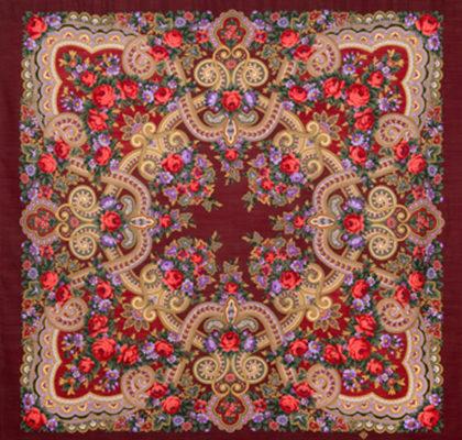 Châle russe en laine, avec des franges en soie Nom du motif: Serenada Créateur du motif: Klara Zinovieva