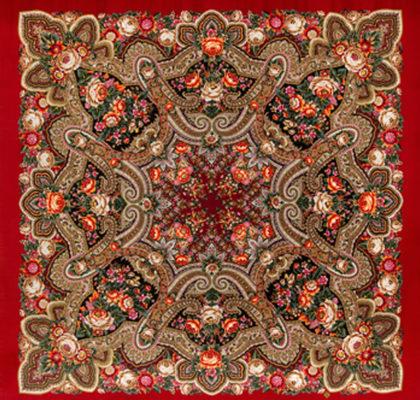 Châle russe en laine, avec des franges en soie Nom du motif: Cadeau de la Foire Créateur du motif: Elena Shoukova