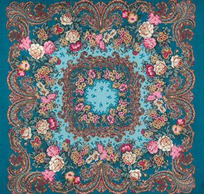 Châle russe en laine, avec des franges en soie Nom du motif: Bal-Mascarade Créateur du motif: Elena Joukova