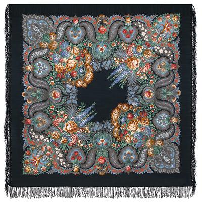 Châle russe en laine, avec des franges en laine Nom du motif: Au Dessus de l'Eau Argentée Créateur du motif: Tatiana Soukharevskaya