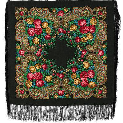 Châle russe en laine, avec des franges en soie Nom du motif: Une Inconnue Créateur du motif: Natalia Belokour