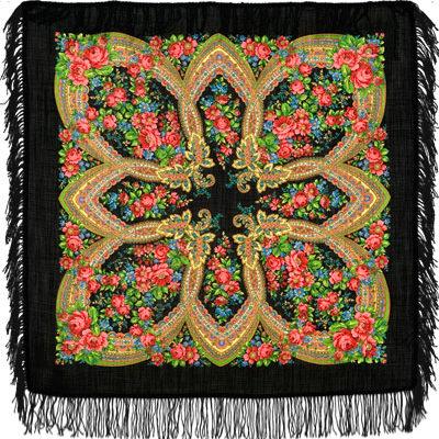Châle russe en laine, avec des franges en laine Nom du motif: Soirée tranquille Créateur du motif: Klara Zinovieva