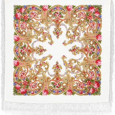 Châle en laine, avec des franges en soie. Nom du motif: Bel Ami, Créatrice du motif: Elena Favoritova