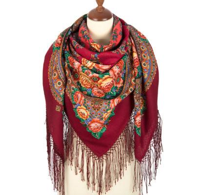 Woolen scarf with Silk fringes. Pattern: Flame of the Heart. Designer: Elena Jukova