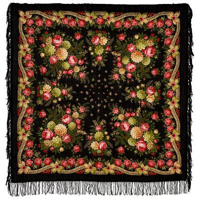 Châle en laine, avec des franges en laine. Nom du motif: Yeux Noirs . Créatrice: Valerya Fadeeva