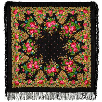 Châle en laine, avec des franges en laine. Nom du motif: Crépuscule d'Eté. Créatrice: Clara Zinovieva