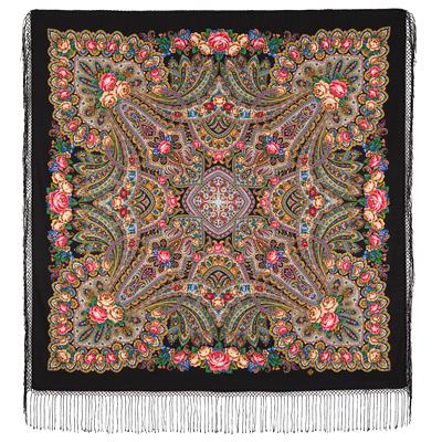 Châle en laine, avec des franges en soie. Nom du motif: Sur les Ailes de la Tendresse. Créatrice: Elena Jukova
