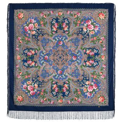 Châle en laine, avec des franges en soie. Nom du motif: Musique de la Mer. Créatrice: Elena Litvinova