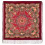 Châle en laine, avec des franges en soie. Nom du motif: Flamme du Coeur. Créatrice: Elena Jukova