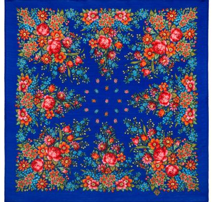 Châle en laine, sans franges. Nom du motif: Mon Jardin. Créatrice: Natalia Belokour