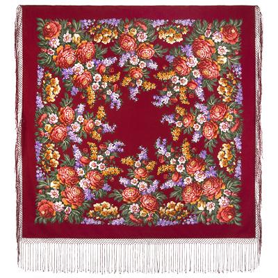 Châle en laine, avec des franges en soie. Nom du motif: Jour de Victoire. Créatrice: Ekaterina Regunova