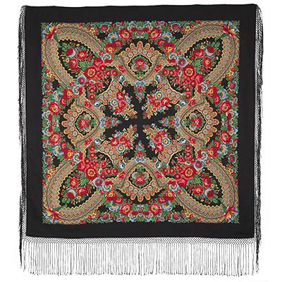 Châle en laine, avec des franges en soie. Nom du motif: Fer à Cheval. Créateur: Stepan Postigov