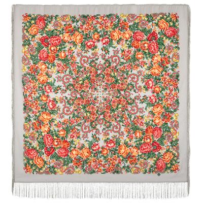 Châle en laine, avec des franges en soie. Nom du motif: Le Soleil Fatigué. Créatrice: Elena Jukova
