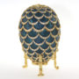 Oeuf Pomme de pin impérial, émail bleu cobalt, vers 1900
