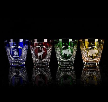 Lot de 4 verres en cristal colorés Tsar Hunt Whiskey DOF