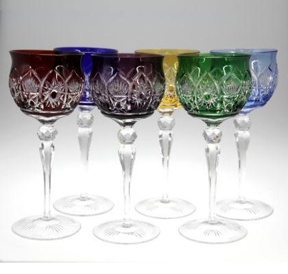 Lot de 6 verres colorés en cristal Alhambra