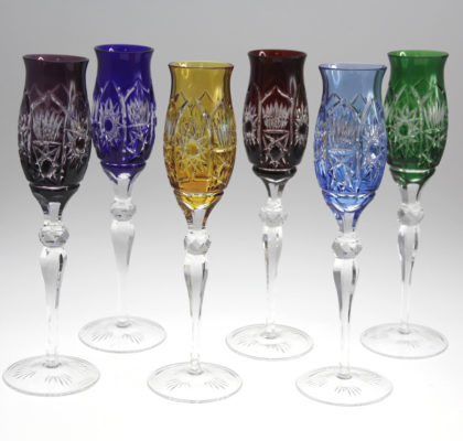 Lot de 6 flûtes à champagne colorées en cristal Alhambra