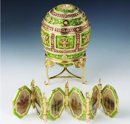 Oeuf impérial napoléonien, émail vert, vers 1890